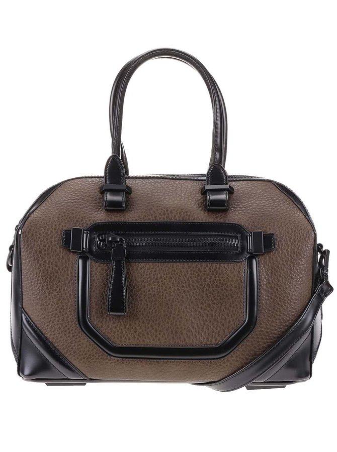 Čierno-hnedá kabelka s ozdobným vreckom ALDO Domodossola