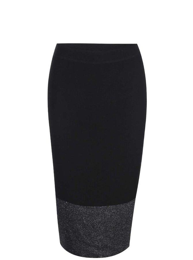 Černá midi sukně se třpytivým lemem Dorothy Perkins