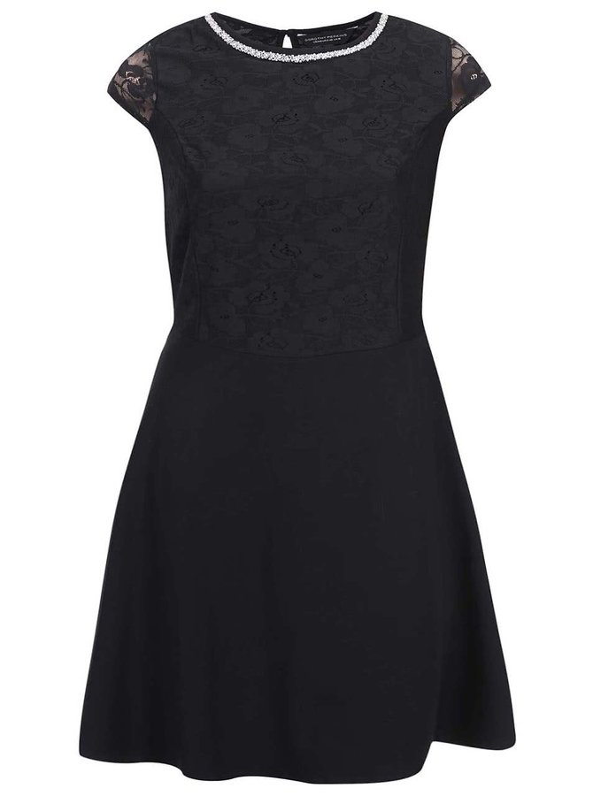 Čierne šaty zdobené čipkou Dorothy Perkins Curve