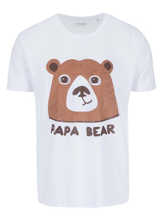 Tricou alb ZOOT Original Papa Bear cu imprimeu cu urs