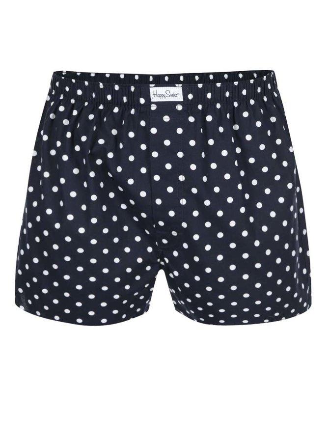 Boxeri bleumarin cu buline albe Happy Socks Dots