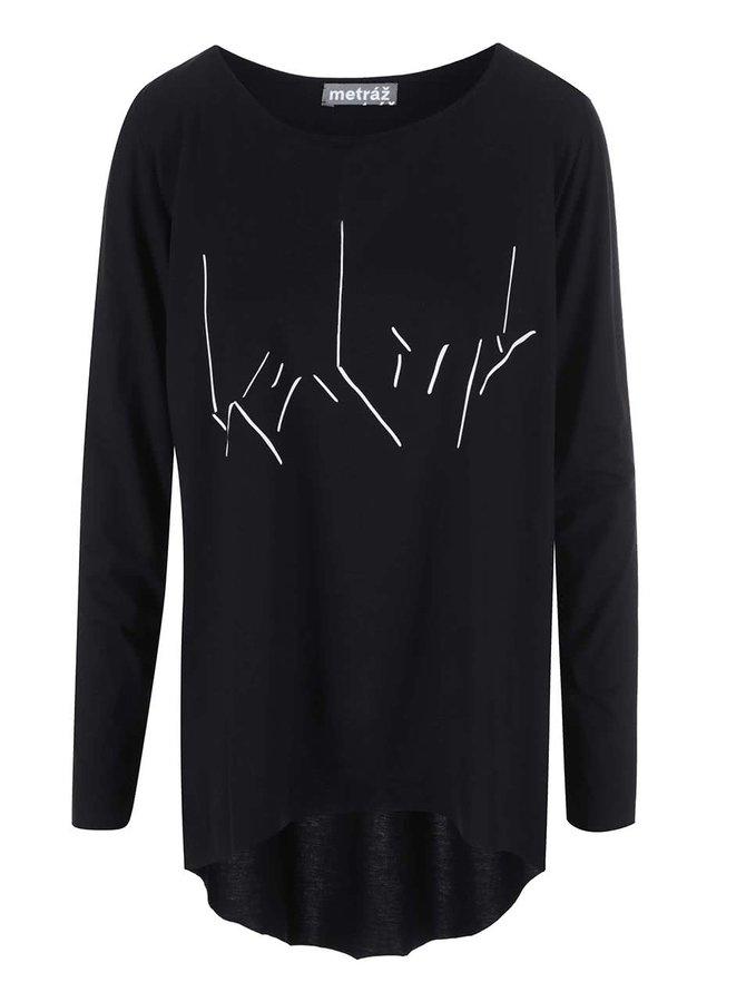 """""""Dobré"""" černé dámské oversize tričko s potiskem Metráž"""
