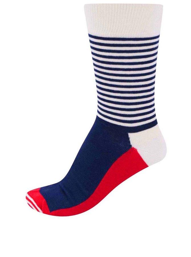 Trojbarevné pánské pruhované ponožky Happy Socks Half Stripe