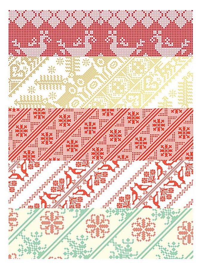 Sada pěti archů vánočních balicích papírů Pretty Paper