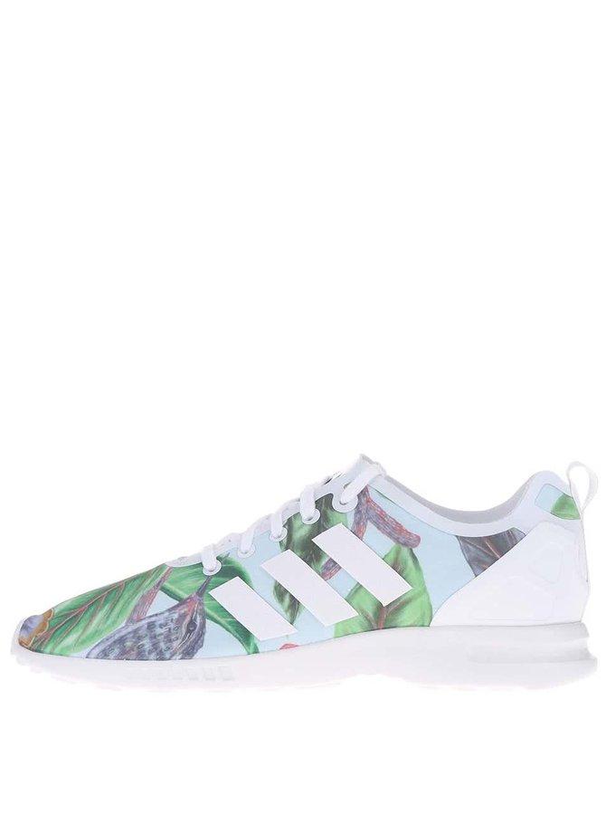 Zeleno-bílé dámské vzorované tenisky adidas Originals ZX Flux