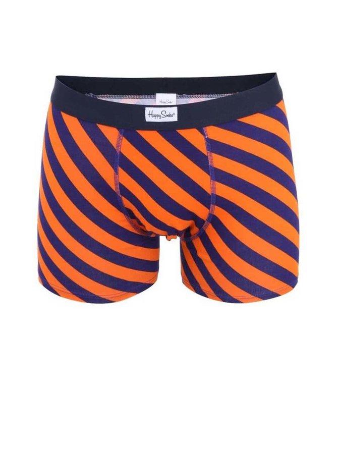 Oranžovo-modré pruhované boxerky Happy Socks Polka Stripe