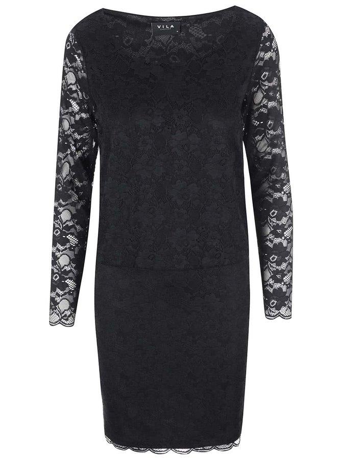 Rochie din dantelă neagră VILA Drake