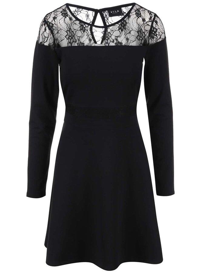 Černé šaty s krajkovými detaily VILA Frit