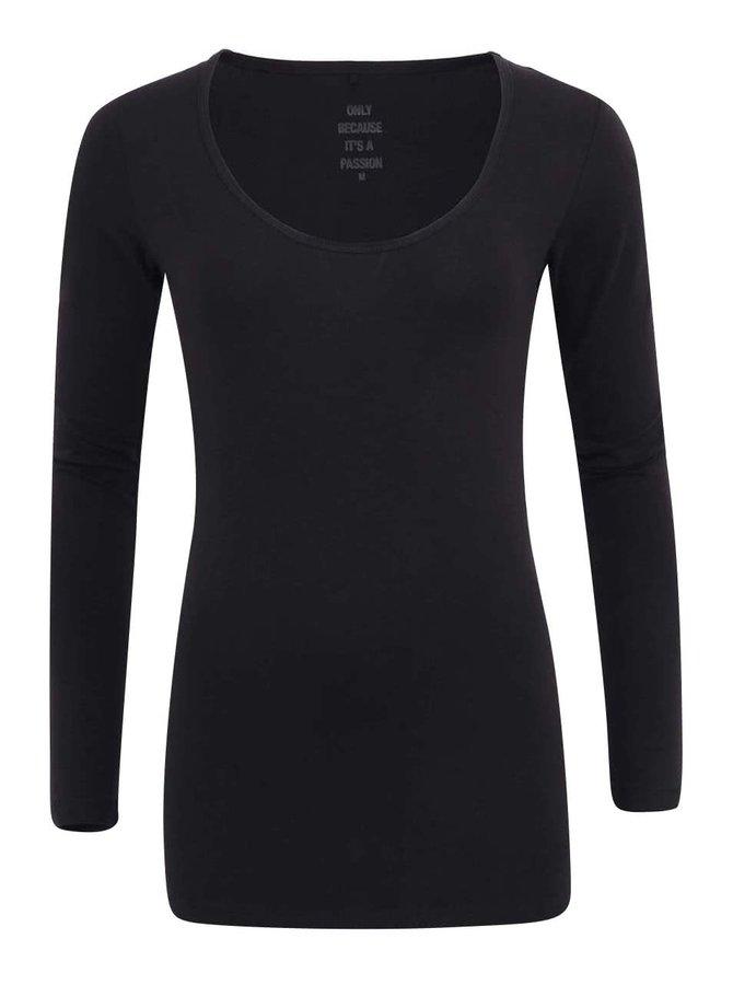 Čierne tričko s dlhými rukávmi ONLY Live Love