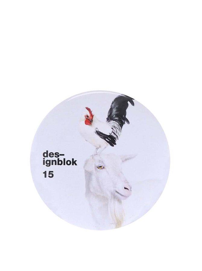Bílé zrcátko s kozou a kohoutem Designblok