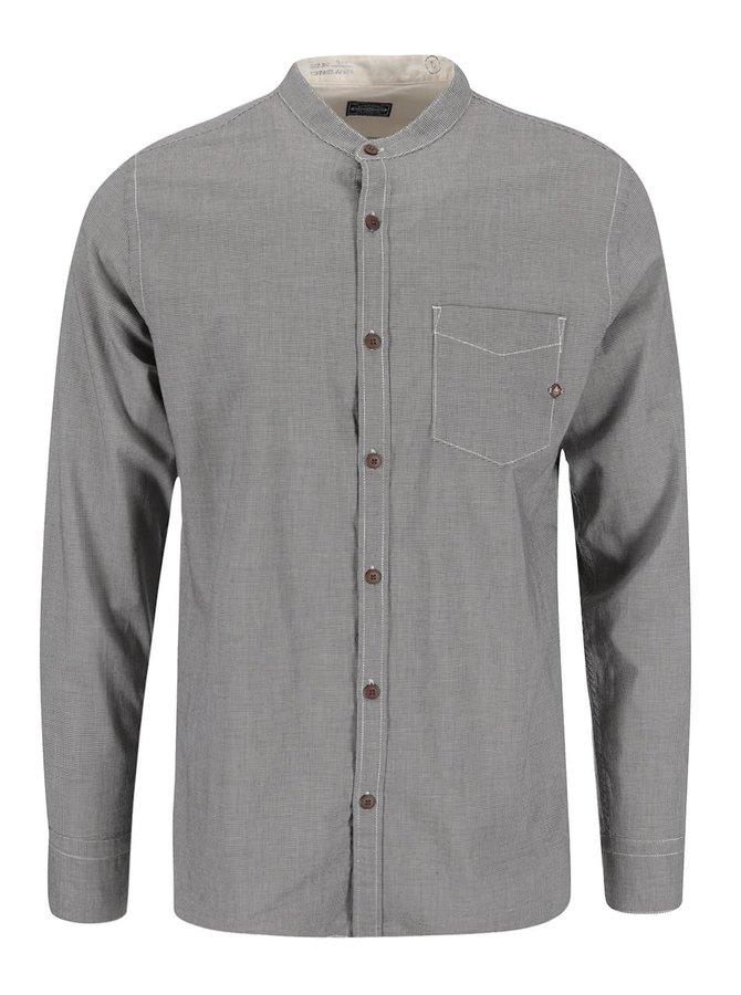 Hnedá košeľa so stojatým golierom a drobným vzorom Jack & Jones Tyler
