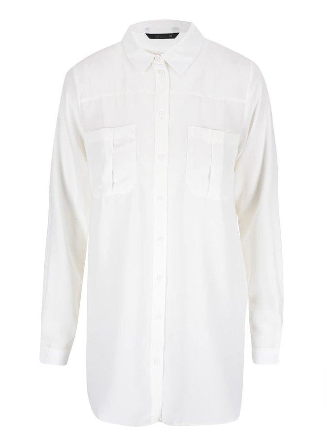 Krémová dlhšia košeľa ONLY Bijou