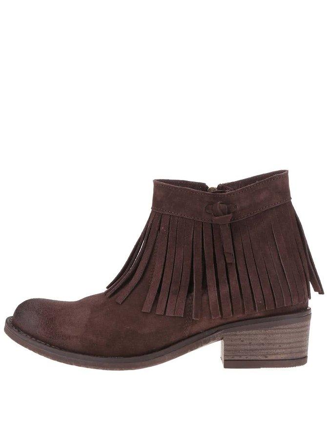 Hnedé kožené členkové topánky so strapcami Tamaris