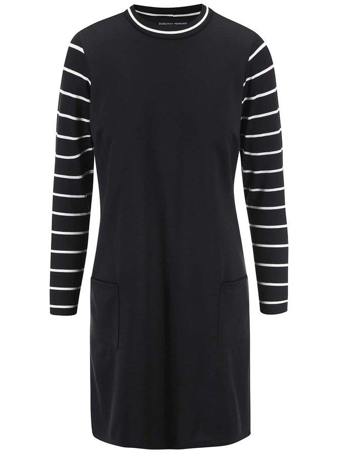 Černé šaty s pruhovanými rukávy Dorothy Perkins