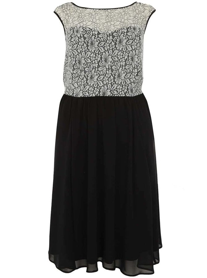 Bielo-čierne čipkované šaty Dorothy Perkins Curve