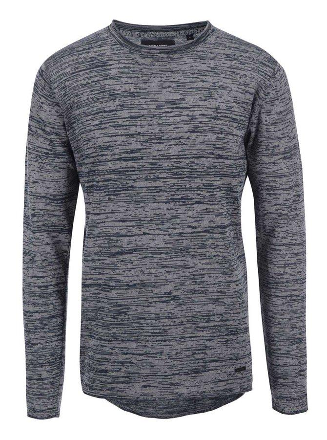 Modro-šedý žíhaný svetr ONLY & SONS Satre