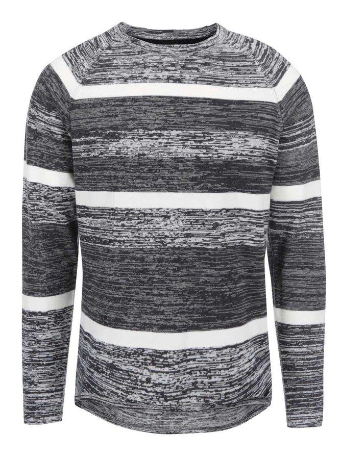 Sivý melírovaný pruhovaný sveter ONLY & SONS Joseph