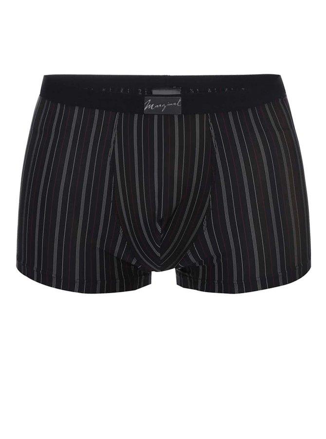 Čierne boxerky s jemnými bielymi a červenými pruhmi Marginal