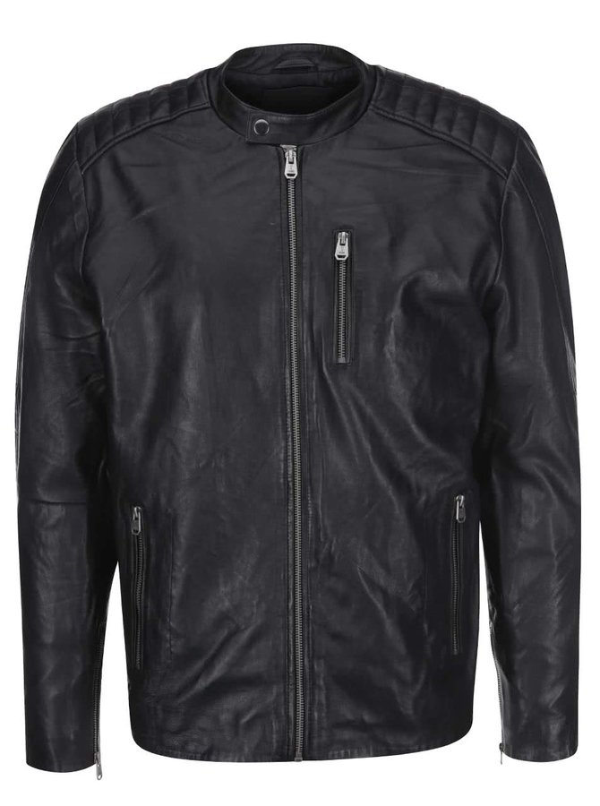 Černá kožená bunda s kapsou na zip Jack & Jones Leather 6