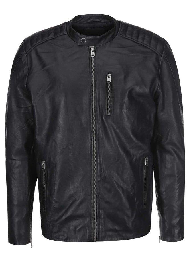 Čierna kožená bunda s vreckom na zips Jack & Jones Leather 6