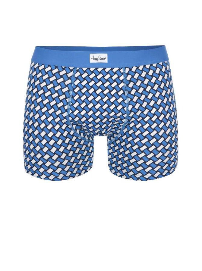 Bílo-modré vzorované boxerky Happy Socks Big Basker