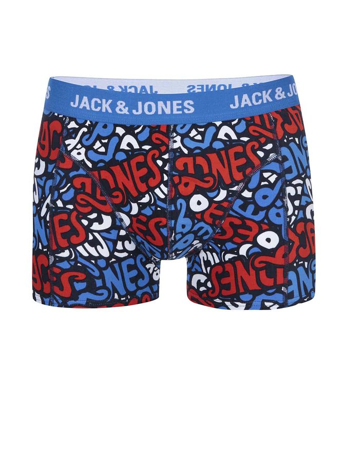Tmavě modré vzorované boxerky Jack & Jones Brooklyn