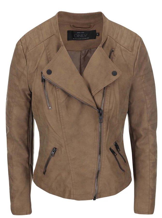 Hnedá kratšia koženková bunda ONLY Biker