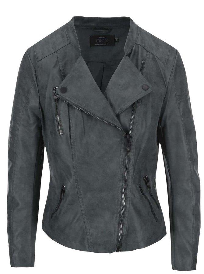 Jachetă scurtă din piele artificială verde-gri ONLY Biker