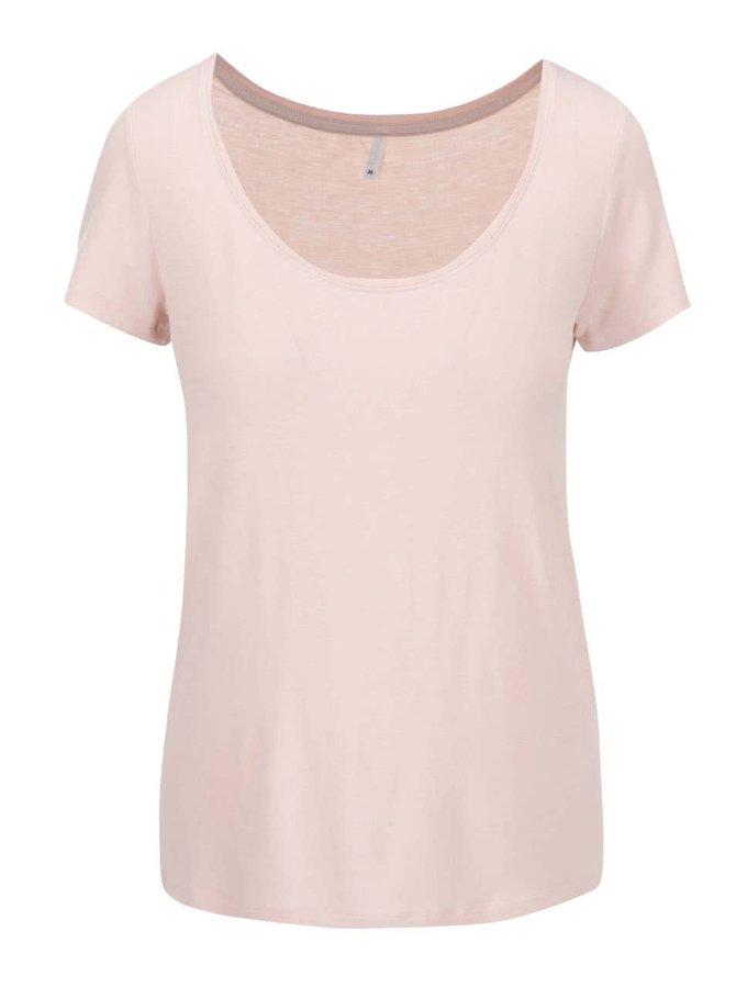 Světle růžové tričko s kulatým výstřihem ONLY Jewel