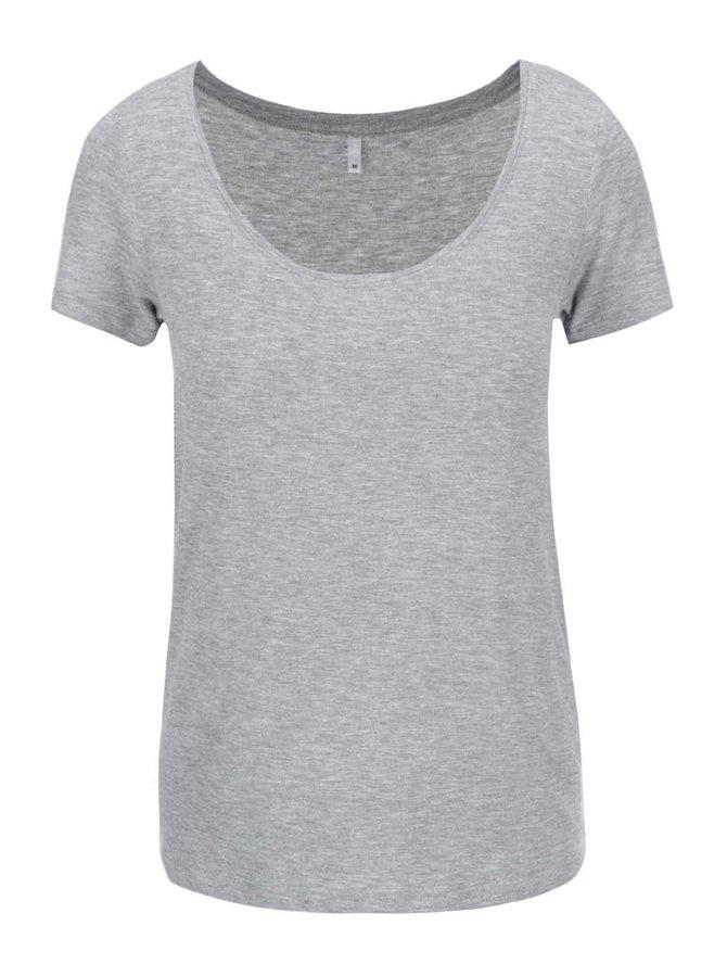 Světle šedé tričko s kulatým výstřihem ONLY Jewel
