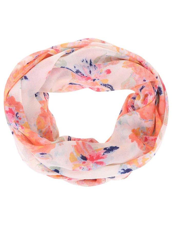 Eșarfă circulară roz cu crem florală Pieces Tussi