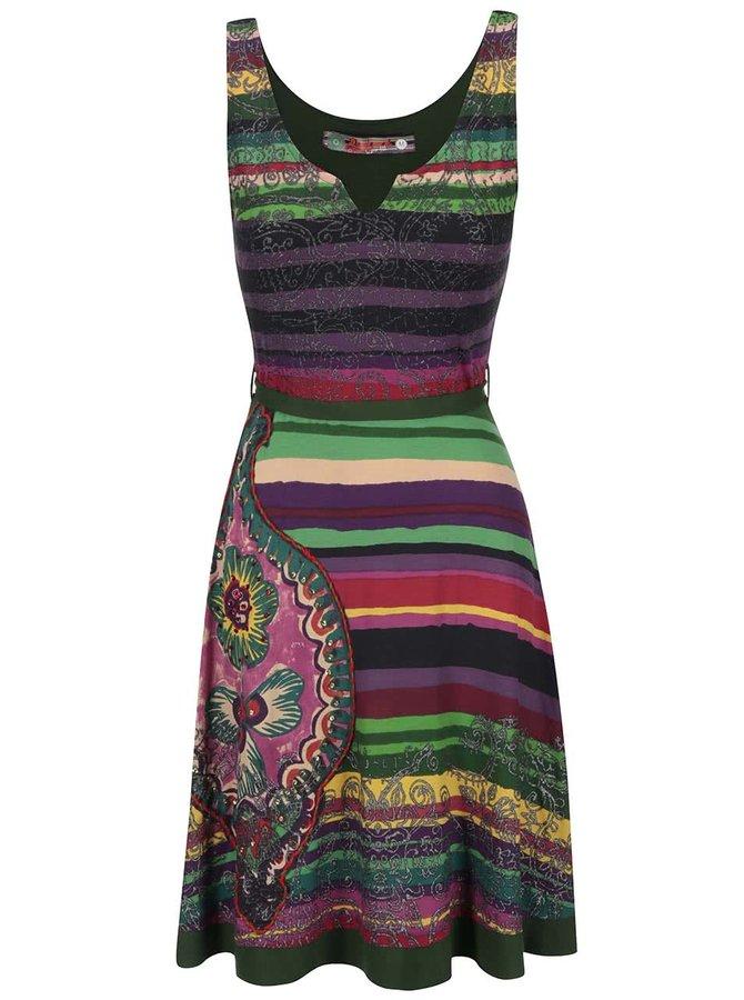 Zeleno-fialové pruhované šaty s mašľou Desigual Judith