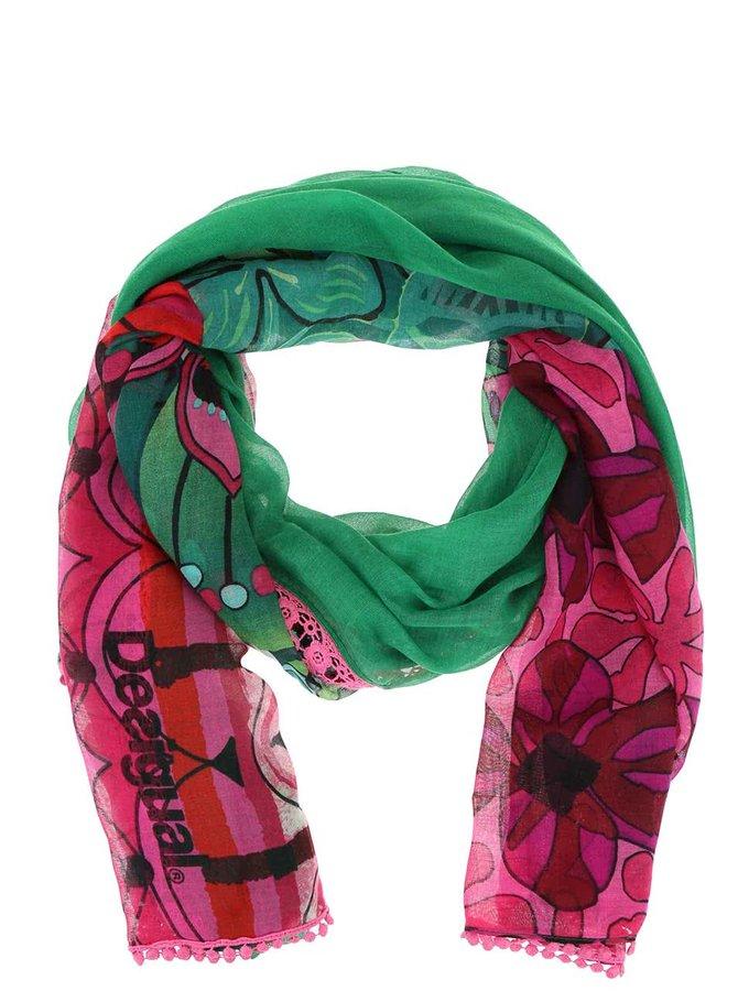 Růžovo-zelený vzorovaný šátek Desigual Purple Jungle