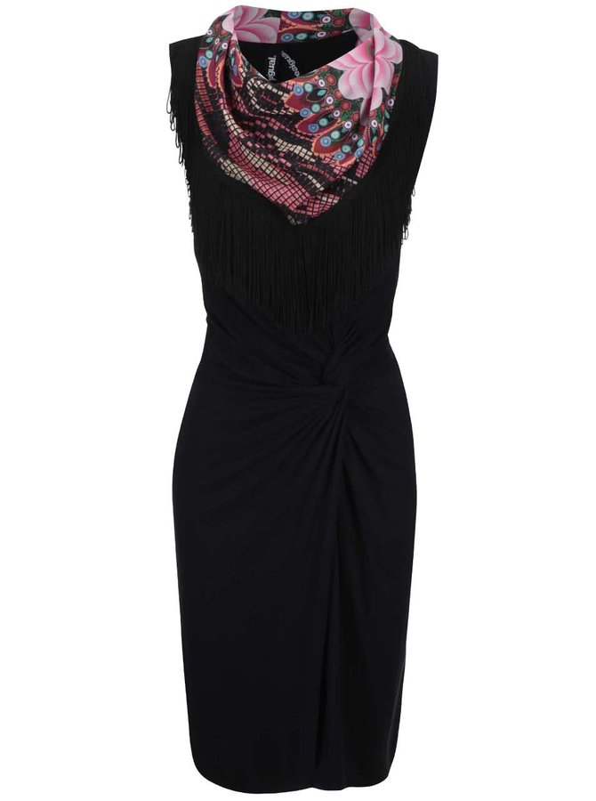 Černé šaty se vzorovaným dekoltem Desigual Cintia
