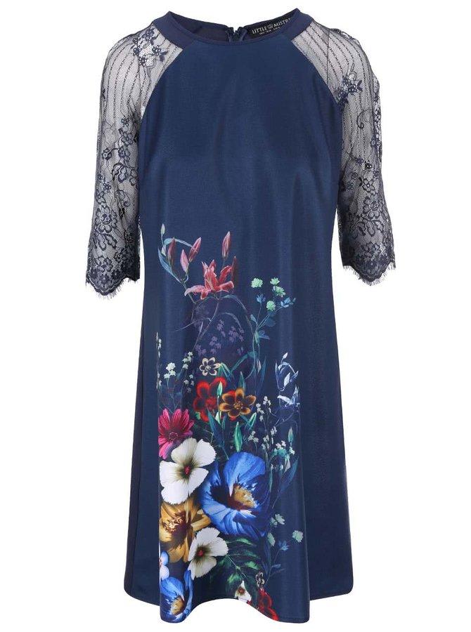 Rochie bleumarin cu imprimeu floral și mâneci din dantelă Little Mistress