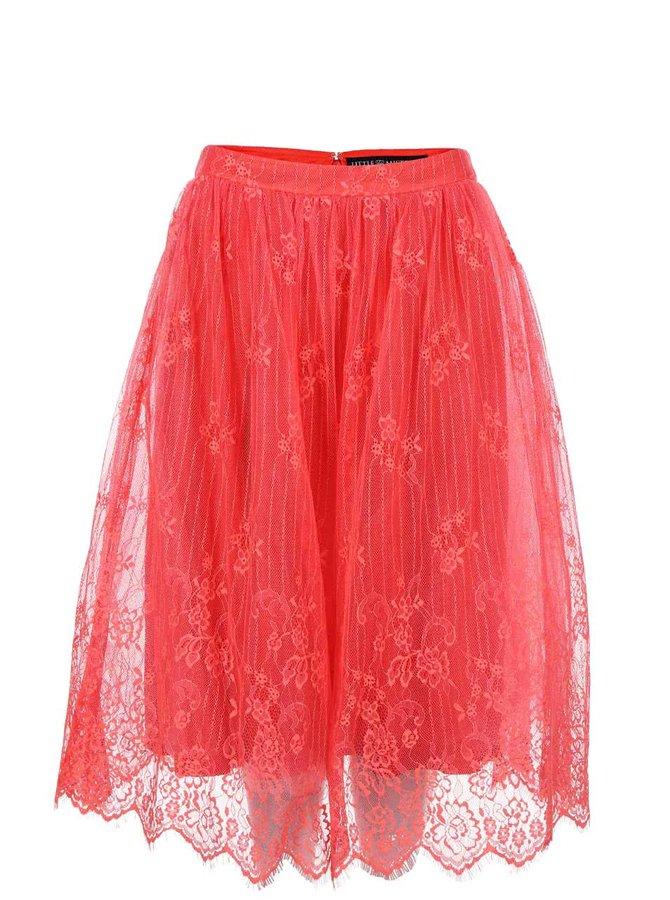 Korálová krajkovaná sukně Little Mistress