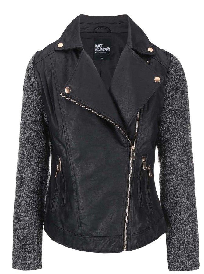 Čierna koženková bunda so sivými rukávmi Haily's Cecilia