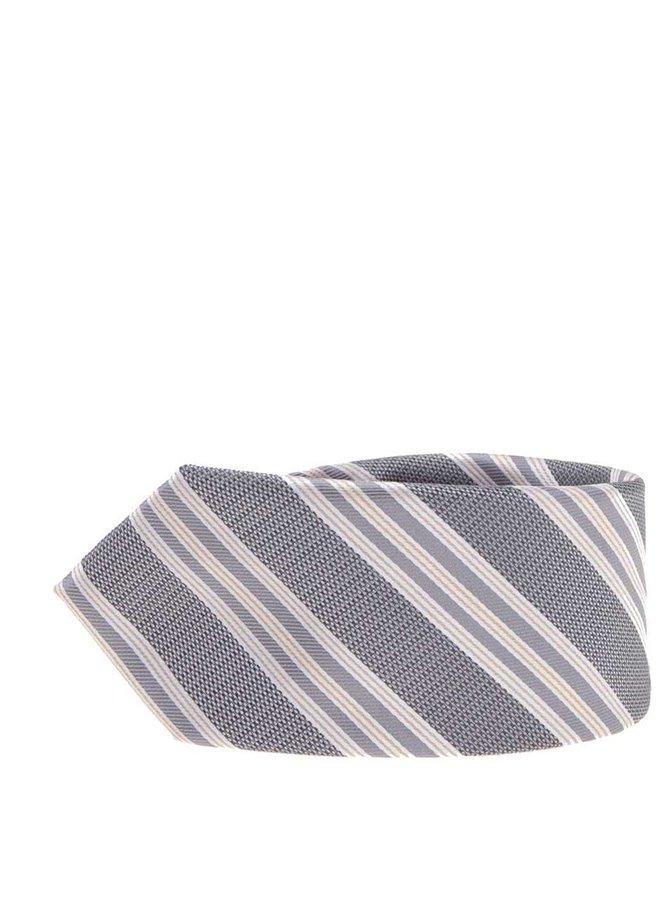 Šedá lesklá kravata s pruhy Selected Homme Jonathan