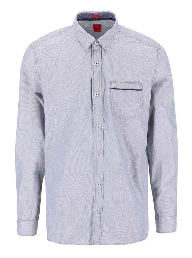 Modro-biela pruhovaná regular fit košeľa s náprsným vreckom s.Oliver