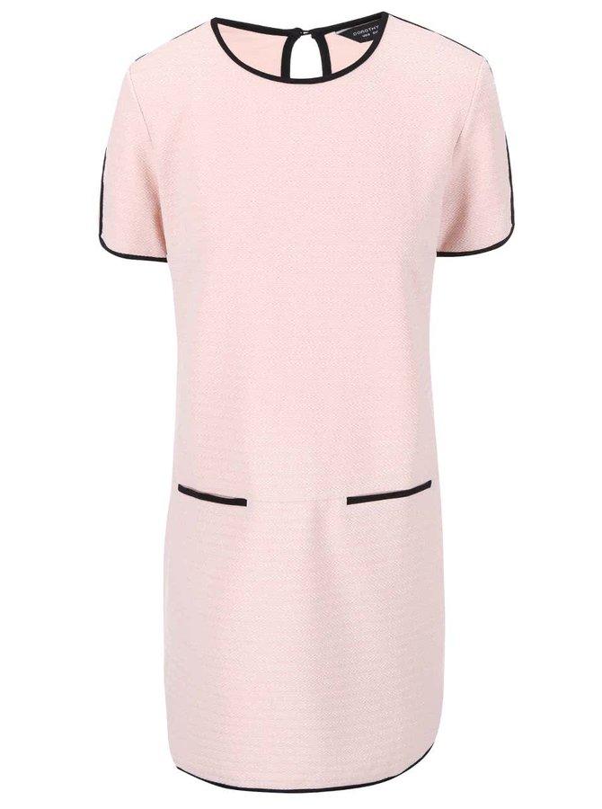 Světle růžové šaty s černým lemováním Dorothy Perkins