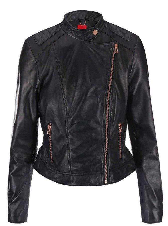 Černá dámská kožená bunda s asymetrickým zipem s.Oliver