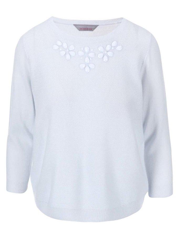 Svetlomodrý sveter s korálikmi pri výstrihu Dorothy Perkins