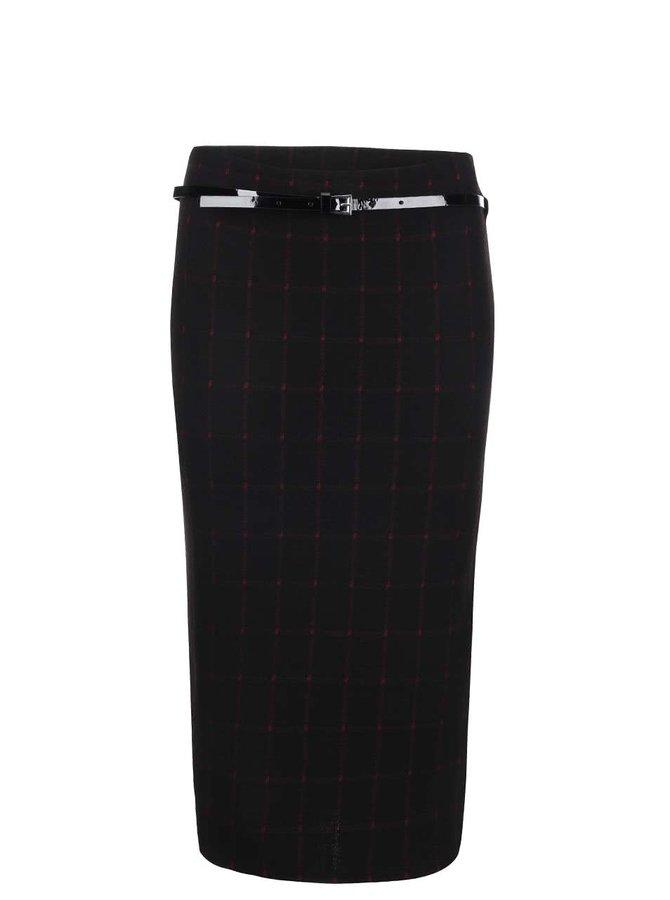 Čierna sukňa s vínovými detailmi a úzkym opaskom Dorothy Perkins