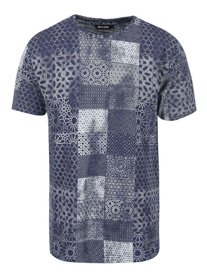 Modré vzorované triko ONLY & SONS Maltin