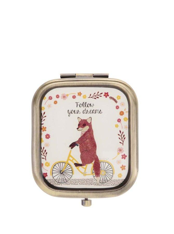 Kompaktné zrkadlo s líškou Sass & Belle Fox On Bike