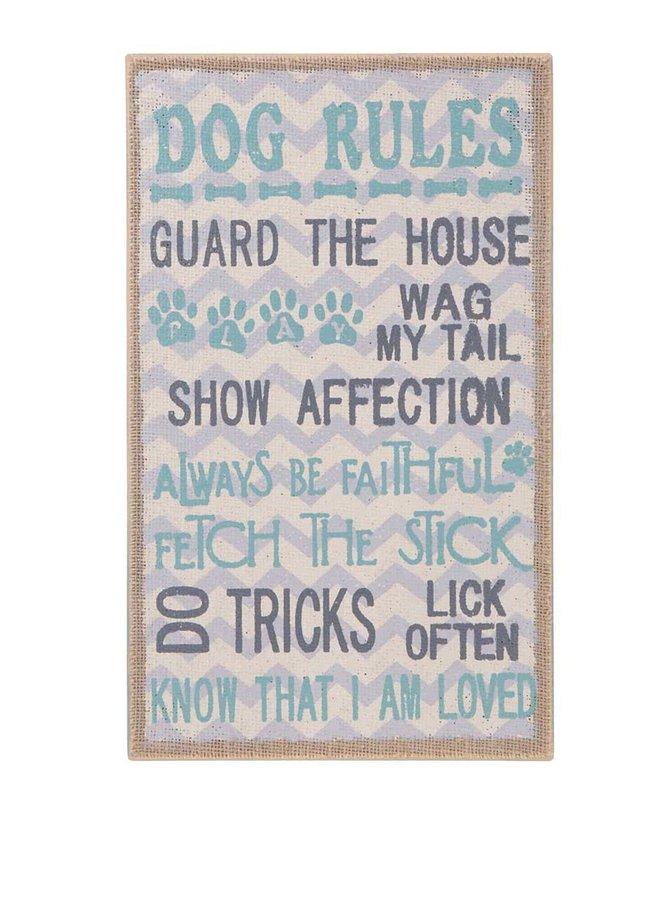 Drevená závesná ceduľa v tyrkysovej farbe Sass & Belle Dog Rules