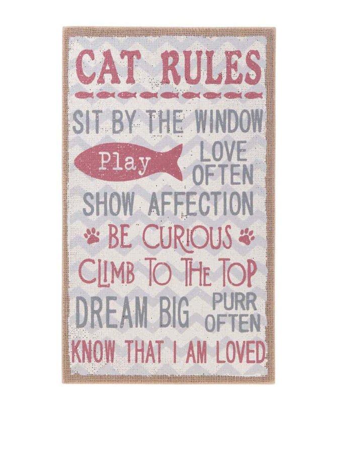 Semn de agățat Cat Rules din lemn pe fond roz de la Sass & Belle