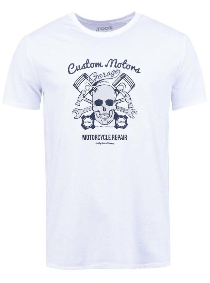 Bílé pánské triko ZOOT Originál Lebka a motorka