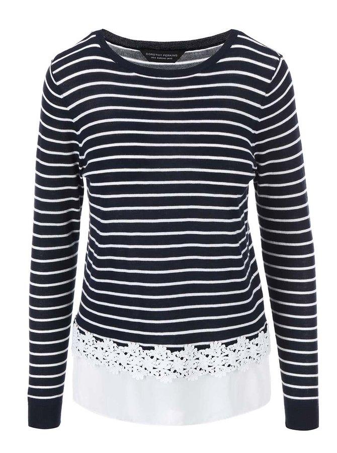 Tmavomodrý pruhovaný sveter so všitým volánom Dorothy Perkins