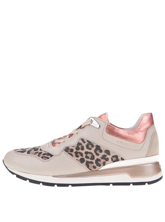 Béžové dámske kožené tenisky s gepardím vzorom Geox Shakira